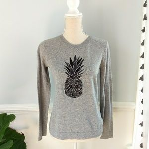 J. Crew Embroidered Pineapple Sweater